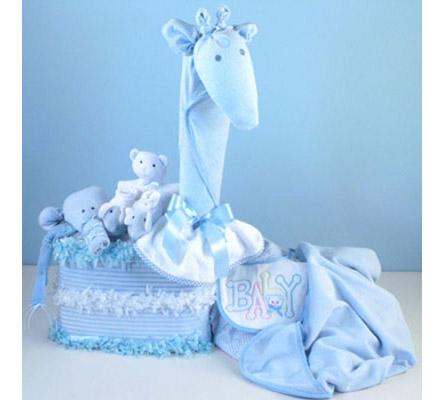 Gentle Giraffe Diaper Cake Baby Boy Gift