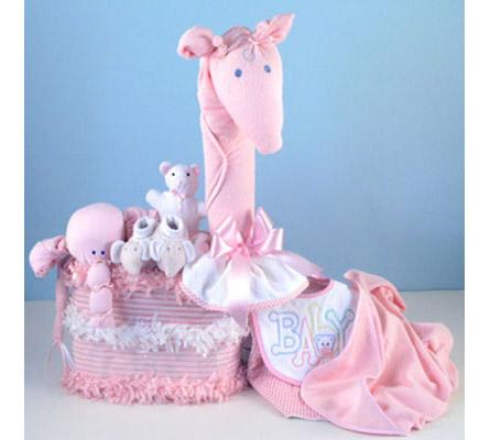 Gentle Giraffe Diaper Cake Baby Girl Gift