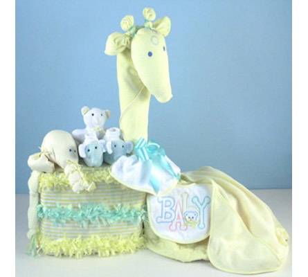 Gentle Giraffe Diaper Cake Baby Shower Gift
