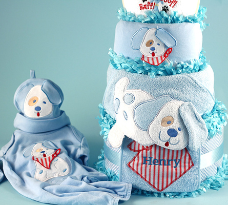 Happy As A Puppy Personalized Diaper Cake Baby Boy Gift