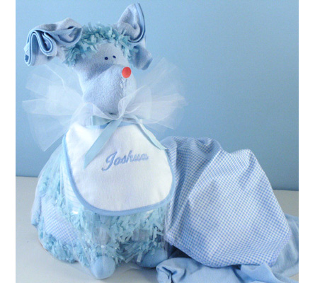 Personalized Puppy Love Diaper Cake-Blue