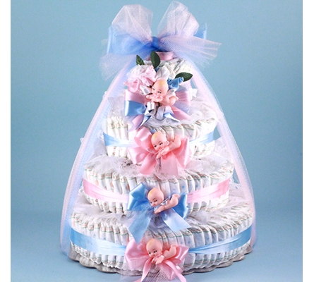 Pink & Blue Baby Shower Diaper Cake