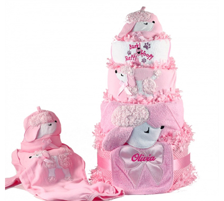 Pretty As A Poodle Diaper Cake Personalized Baby Girl Gift
