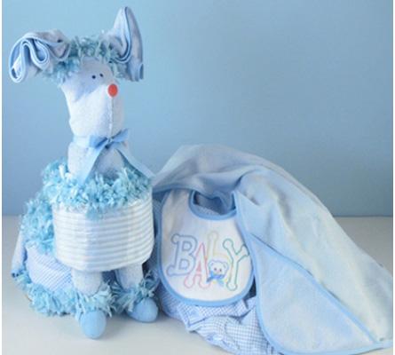 Puppy Diaper Cake Surprise Baby Boy Gift