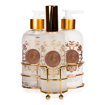 Shelley Kyle Sorella Three piece caddy with Lotion, Liquid Hand Soap and Room Atomizer