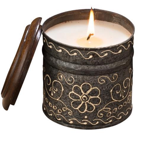 Himalayan Trading Post Hand Painted Tin Candle Grapefruit Pine/Indian Sandalwood & Vetiver 12oz
