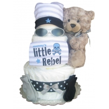 Rockin Rebel Blue Diaper Cake