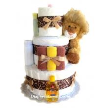 Cuddly Lion Mini Diaper Cake