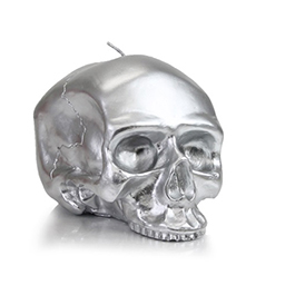 D.L. & Company Medium - Silver Skull Metallic Candle