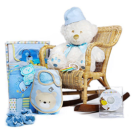 Rock-A-Bye Teddy Boy Gift Basket