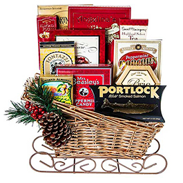 Season's Large Greetings Sled Gift Basket