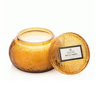 Voluspa Japonica Baltic Amber Embossed Glass Chawan Bowl W/Lid 14oz