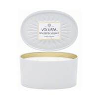 Voluspa Vermeil Bourbon Vanille 2 Wick Candle In Decorative Oval Tin 12.7oz