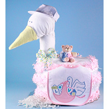 STORK DELIVERS BABY GIRL DIAPER CAKE PINK