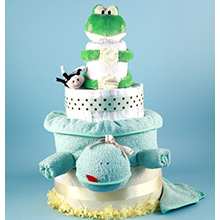 DELUXE FRIENDLY FROG DIAPER CAKE BABY SHOWER GIFT
