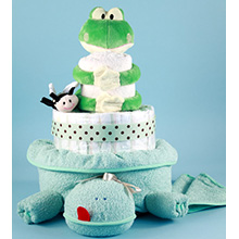 Friendly Frog Diaper Cake Baby Gift for Baby Shower