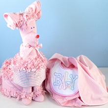Puppy Diaper Cake Surprise Baby Girl Gift