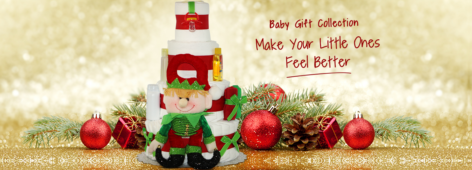 Baby Christmas Celebration Diaper Cake 4 Tiers