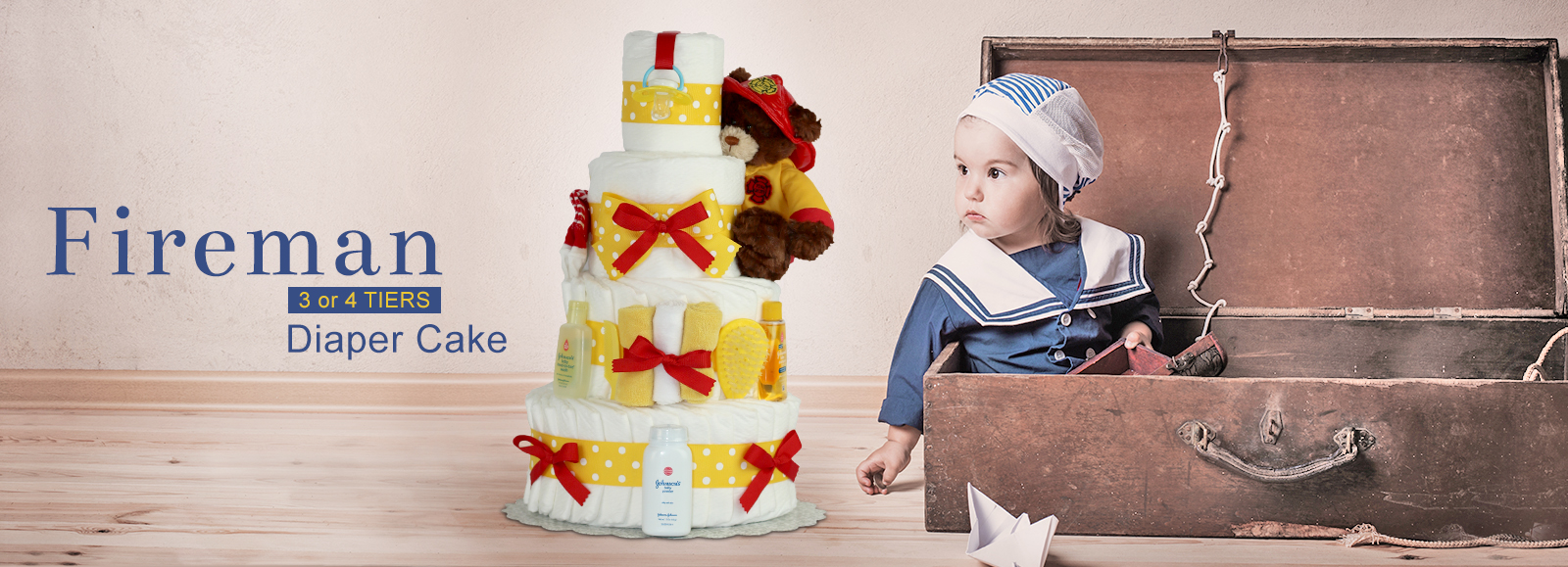 Fireman 3 or 4 Tiers Diaper Cake