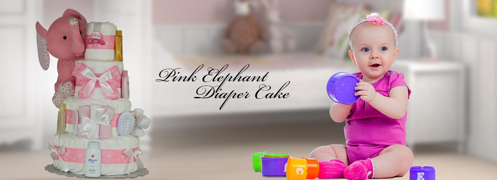 Pink Elephant DiaperCake
