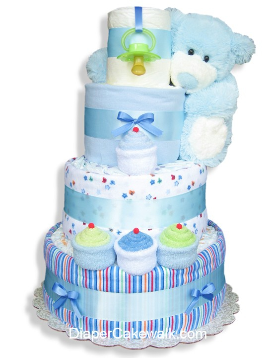 Blue Sampler Baby Diaper Cake At Best Prices