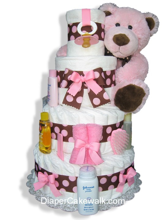 Brown Pink 4 Or 5 Tier Diaper Cake At Best Prices