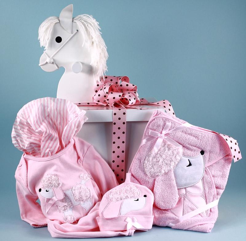 Baby Gift Designer : Poodle layette baby gift in designer box