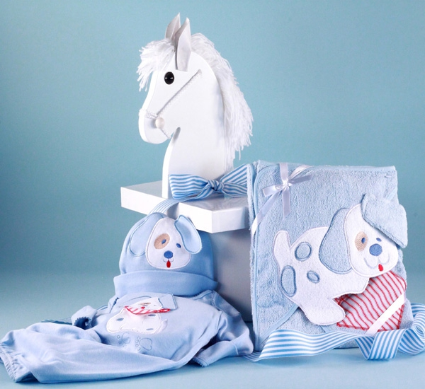 Personalized Baby Gift Baskets Rocking Horse : Puppy layette baby gift in designer box