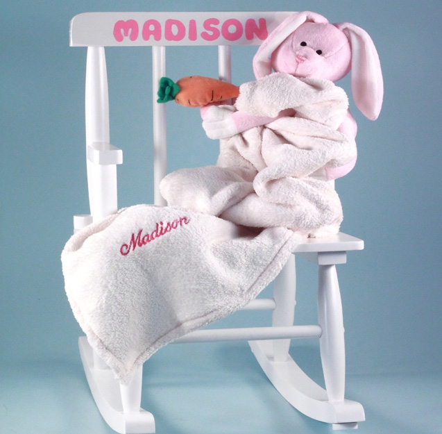 Babys first rocking chair personalized baby girl gift negle Choice Image