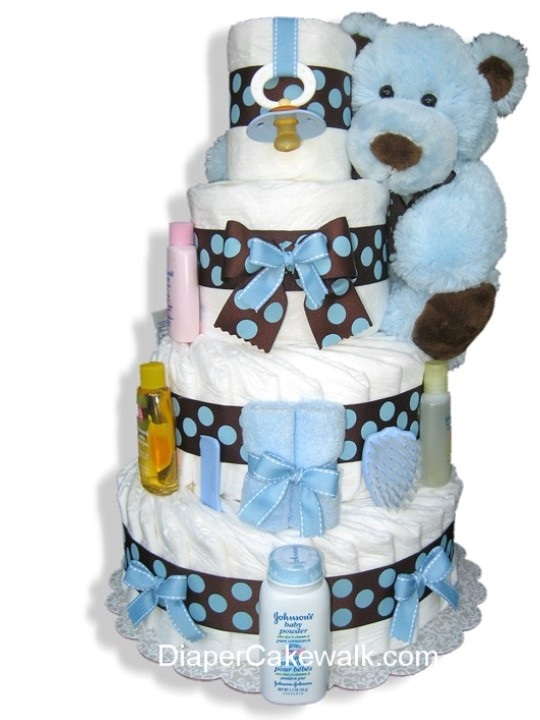 Brown Blue 4 Or 5 Tier Diaper Cake At Best Prices