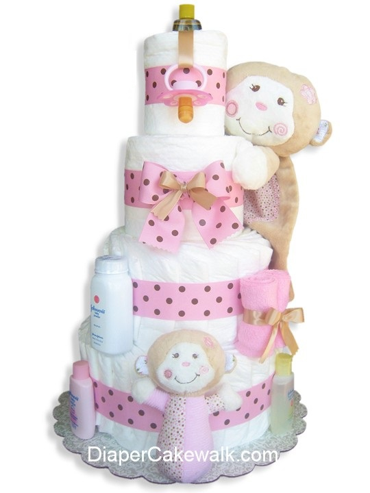 Silly Monkey Pink Diaper Cake At Best Prices
