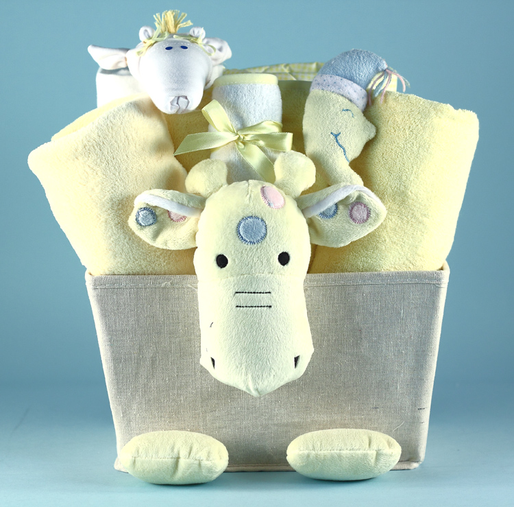 Plush Giraffe Baby Shower Gift Basket At Best Prices