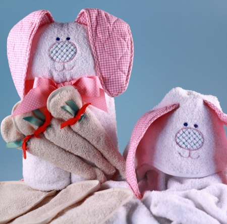 Rabbit hooded towel personalized baby gift negle Images