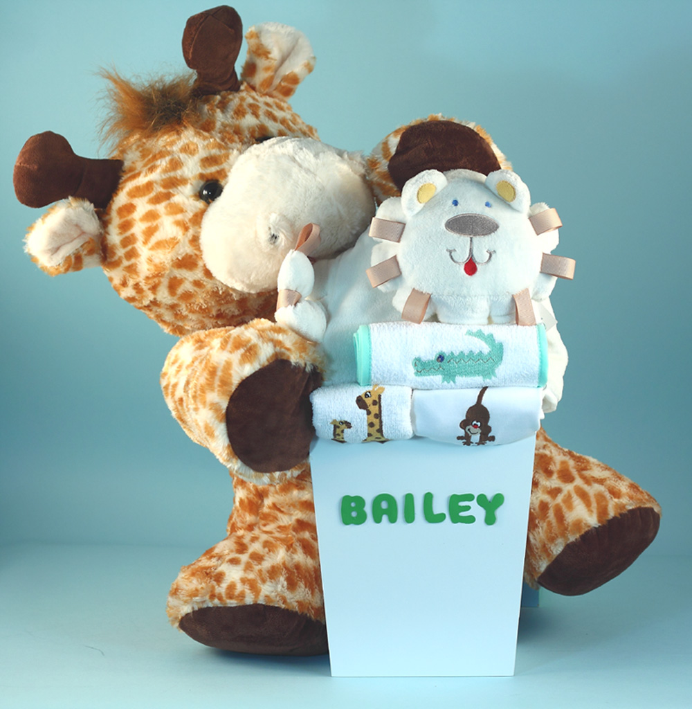 Safari themed deluxe personalized baby gift set negle Gallery