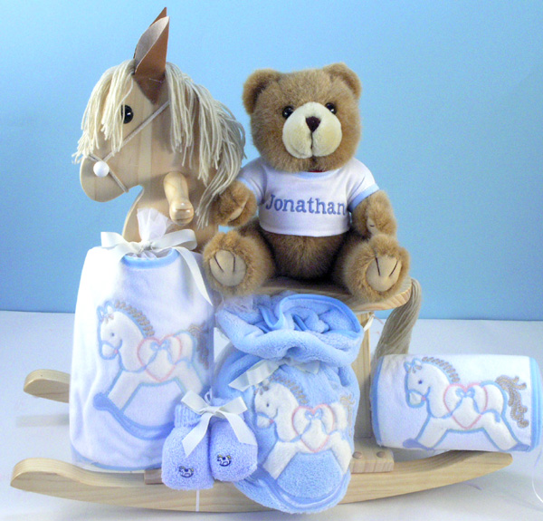 Personalized Baby Gift Baskets Rocking Horse : Keepsake rocking horse personalized baby boy gift set