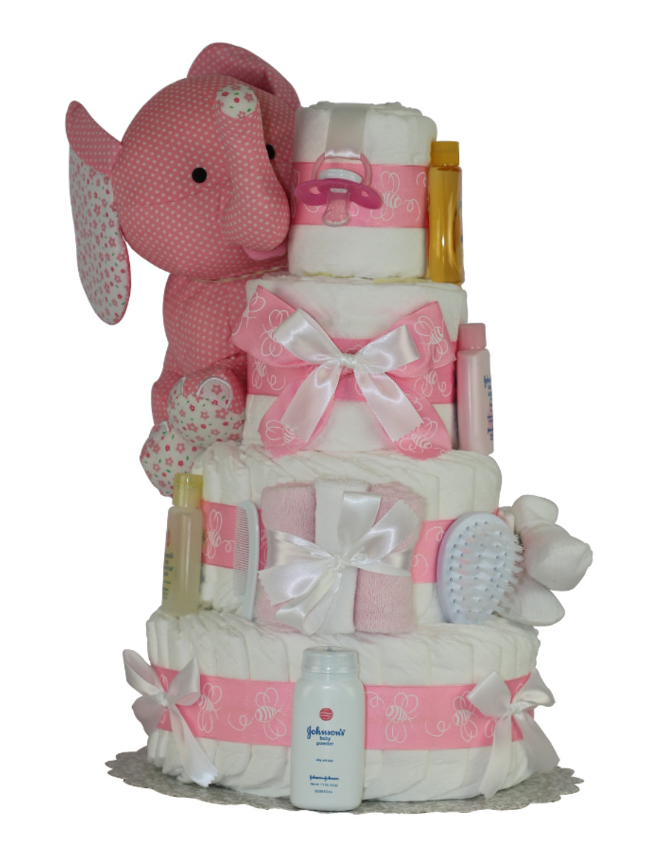 DCW-PE-DC_1001 Pink Diaper Cakes For Baby Showers