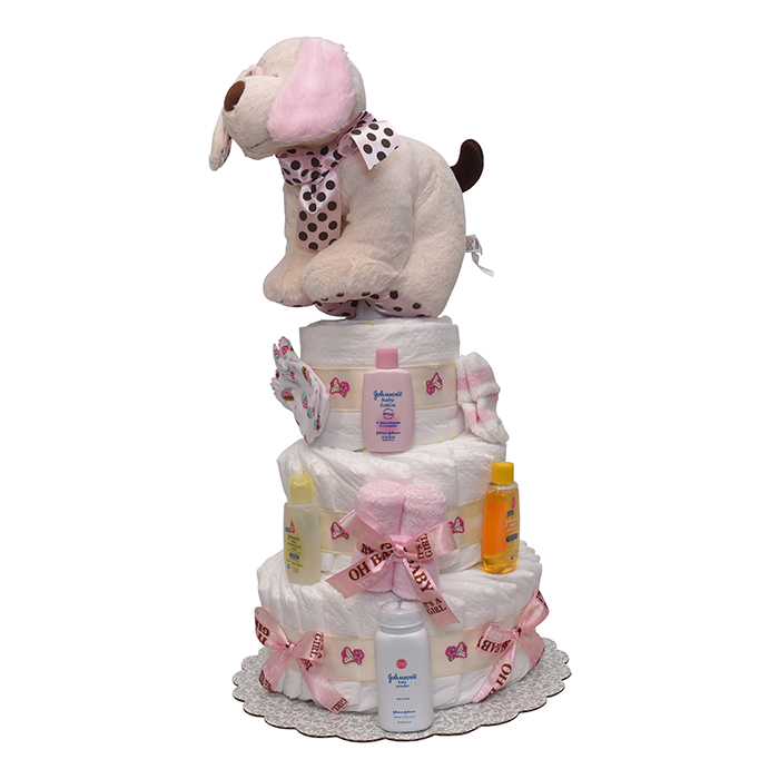 Diaper cakes and new baby gifts baby shower gifts puppy on the run girls diaper cake 4 t reheart Choice Image