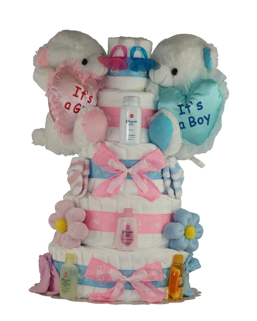 How To Make Diaper Cake For Twin Boy And Girl