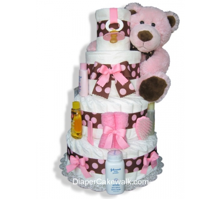 Brown & Pink 4 Tier Diaper Cake