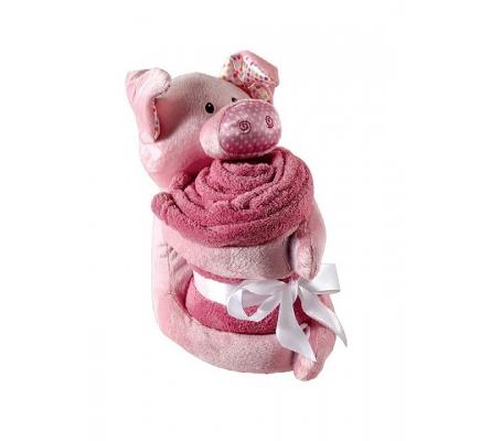 Plush Pig Animal & Blanket, Pink