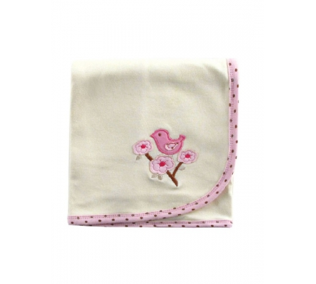 Nature Organic Interlock Receiving Blanket-Girl