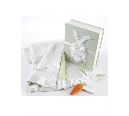 Bunnies in the Garden Luxurious 3-Piece Blanket Gift Set