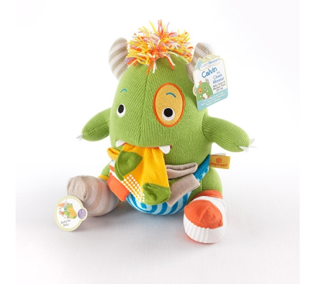 Calvin the Closet Monster Knit Baby Socks and Plush Monster Gift Set