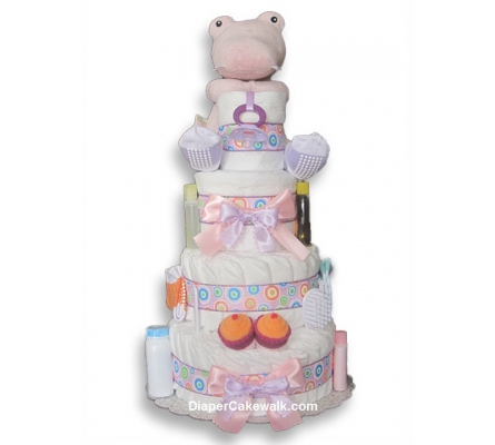 Croc in Socks Safari Baby Girl Diaper Cake