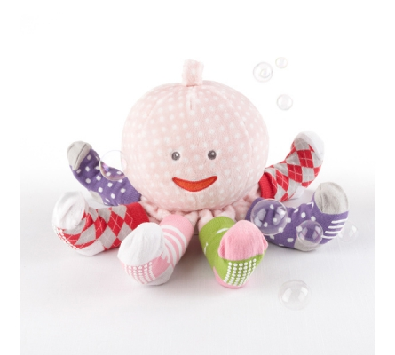 Mrs. Sock T. Pus Plush Octopus with 4 Pairs of Socks (Pink)