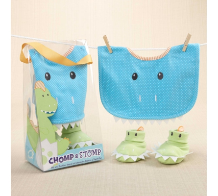 Chomp & Stomp Dinosaur Bib and Booties Gift Set