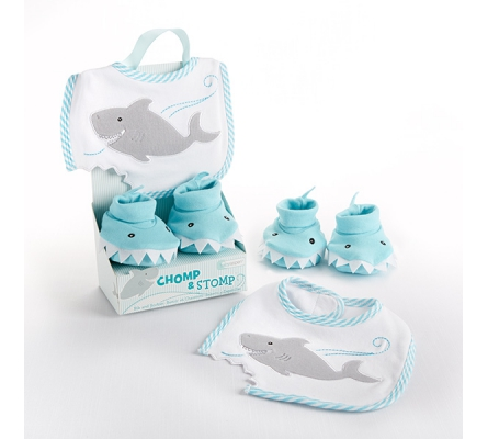 Chomp & Stomp Shark Bib and Booties Gift Set