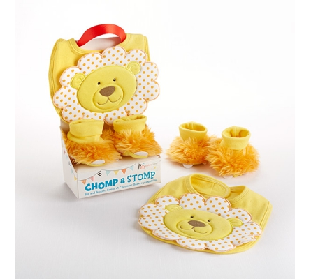 Chomp & Stomp Lion Bib and Booties Gift Set