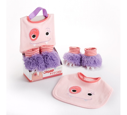 Chomp & Stomp Monster Bib and Booties Gift Set (Girl)
