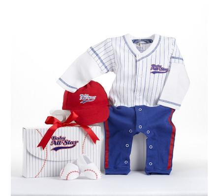 Big Dreamzzz Baby Baseball Three-Piece Layette Set in All-Star Gift Box